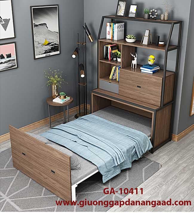 giường gấp âm tường kết hợp bàn kệ sách đa năng