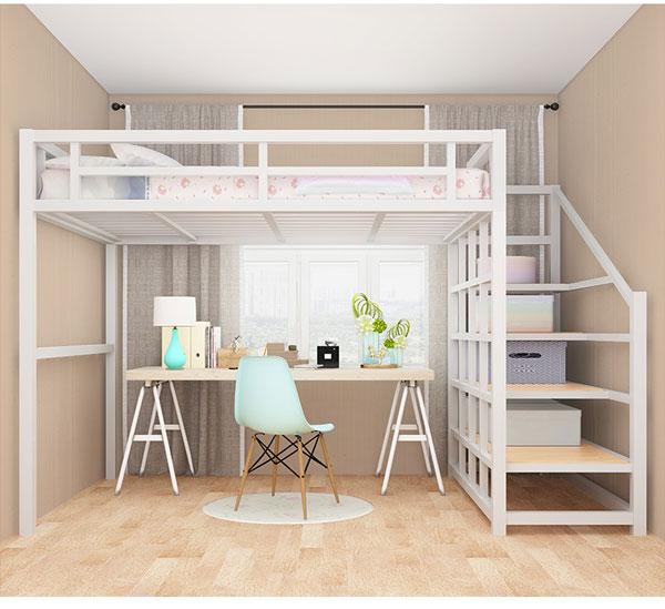 giường sắt hai tầng màu trắng đa năng