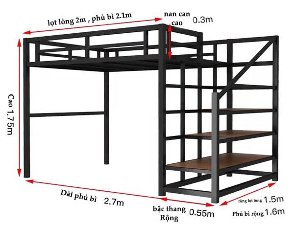 kích thước giường sắt hai tầng đa năng