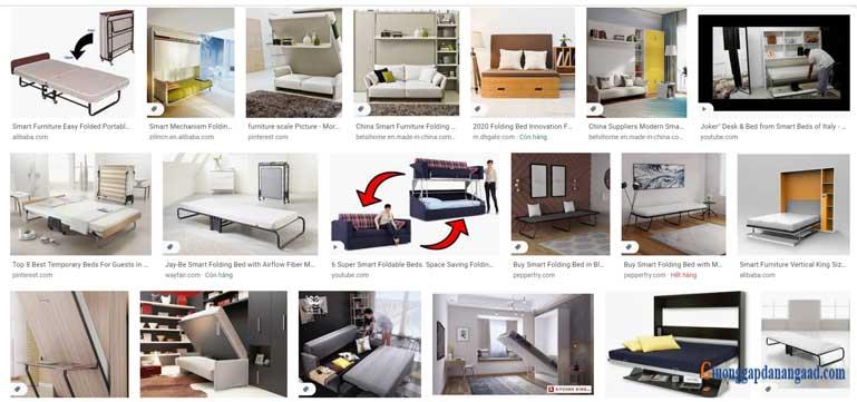 những mẫu thiết kế giường gấp 1m2 đa năng