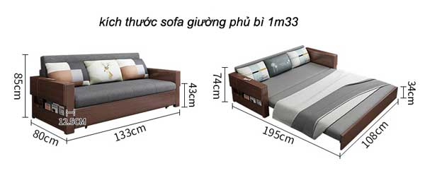 kích thước sofa giường gấp 1m33