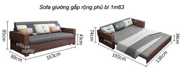 kích thước sofa giường gấp 1m63