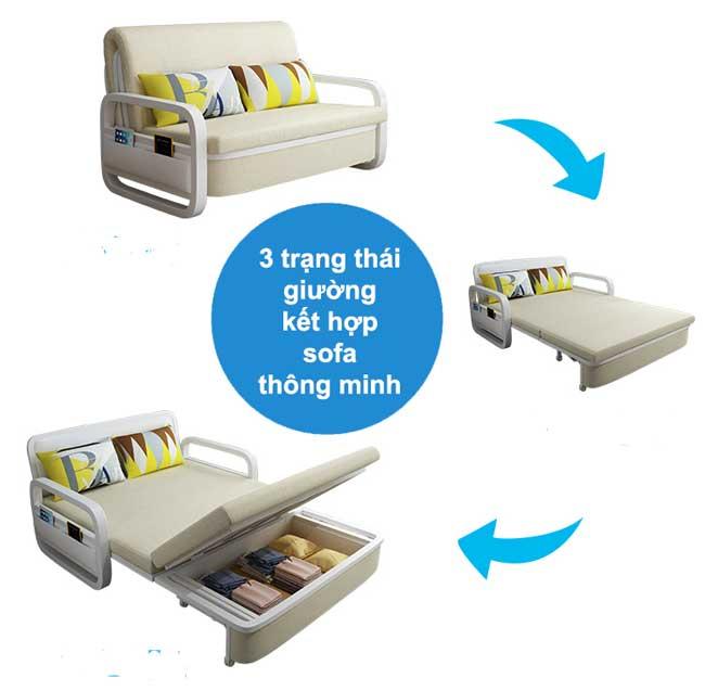3 trạng thái giường gấp kết hợp sofa