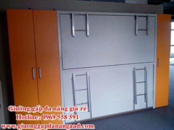Giường gấp 2 tầng đa năng MDF sơn xanh đẹp hiện đại