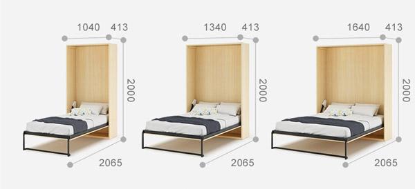 kích thước giường gấp vào tường