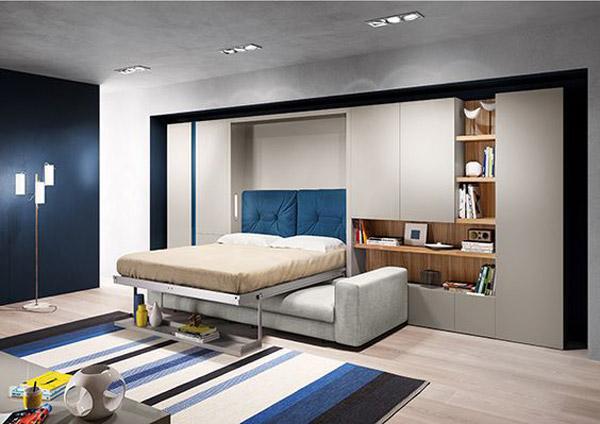 giường gấp âm tường kết hợp sofa -1