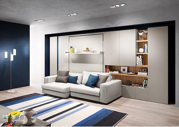 giường gấp âm tường kết hợp sofa