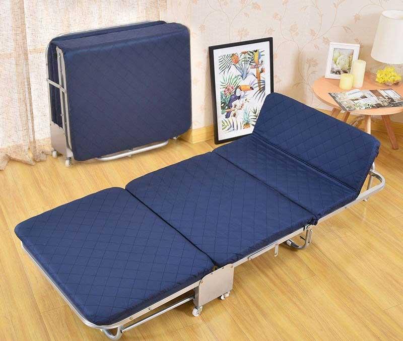 giường gấp nệm có bánh xe