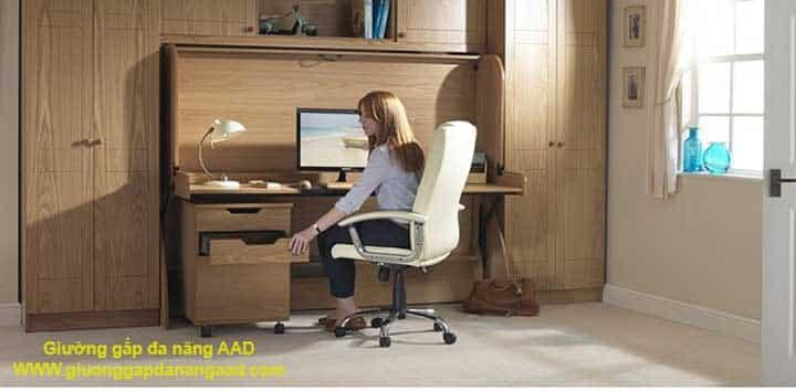 giường gấp kết hợp bàn làm việc để máy tính