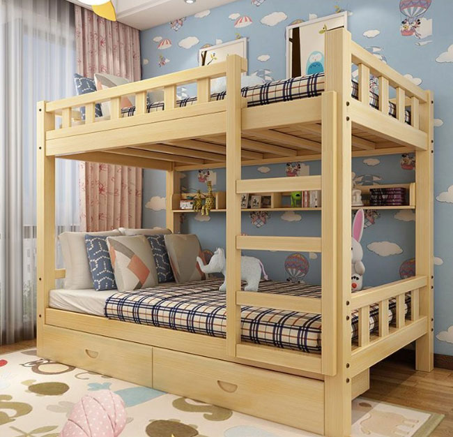 giường tầng có ngăn kéo và nan can