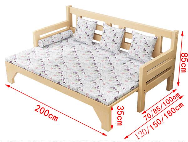 kích thước giường gỗ gấp thành ghế sofa