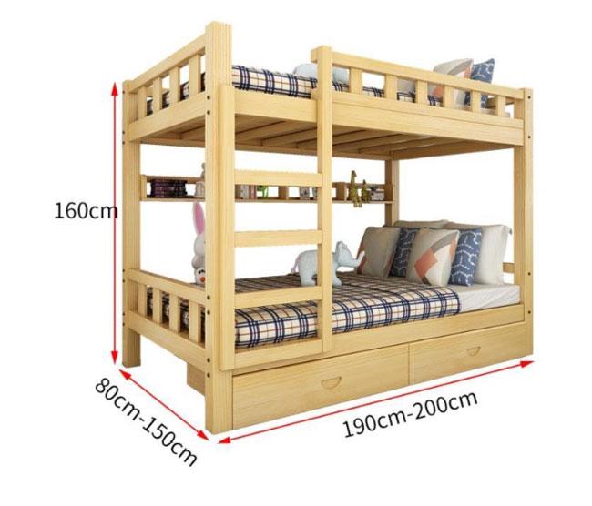 Kích thước giường tầng có ngăn kéo
