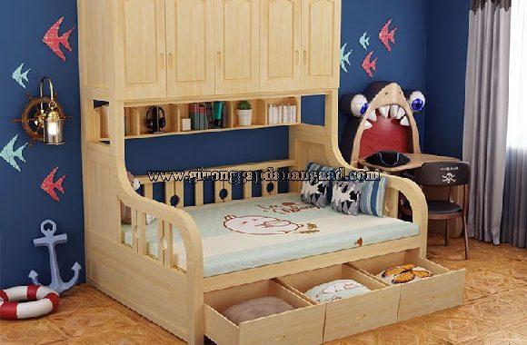 giường gỗ đa chức năng kết hợp tủ