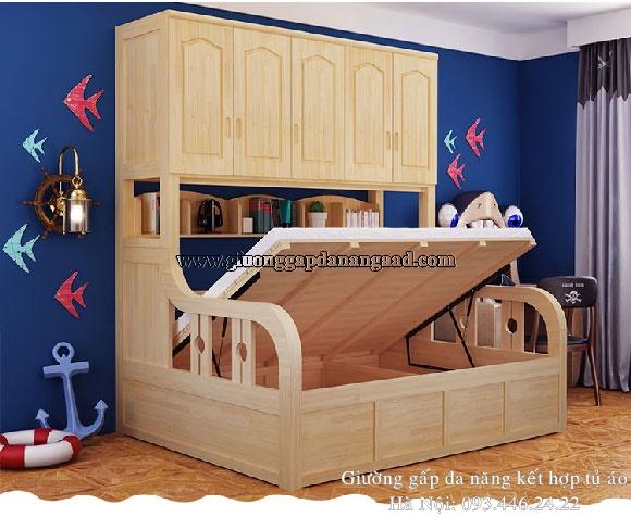 Giường gỗ đa chức năng kết hợp tủ quần áo ngăn kéo