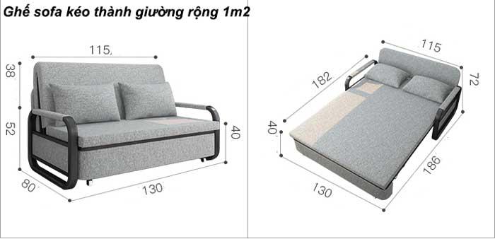 ghế sofa kéo thành giường đa năng rộng 1m2