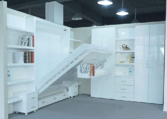 Giường gấp đa năng tiết kiệm không gian E1 màu trắng