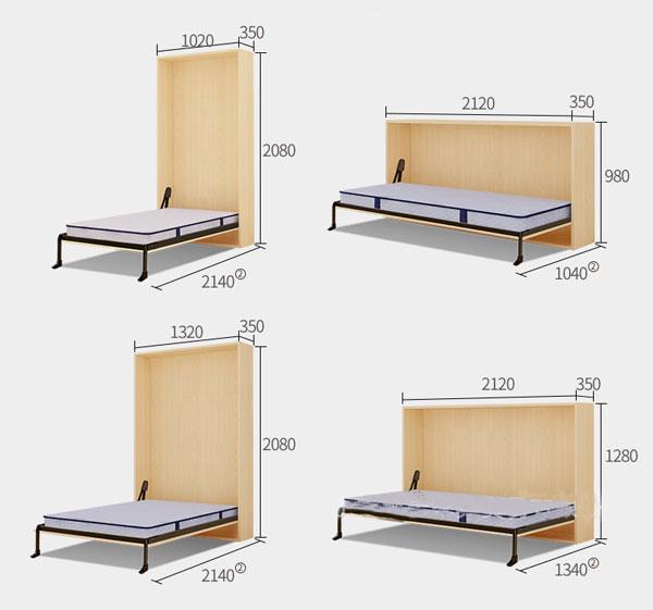 kích thước giường gấp ngang đa năng, gấp dọc