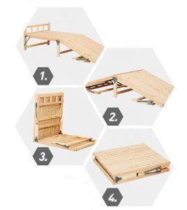 Giường gấp đôi đa năng nhỏ gọn bằng gỗ