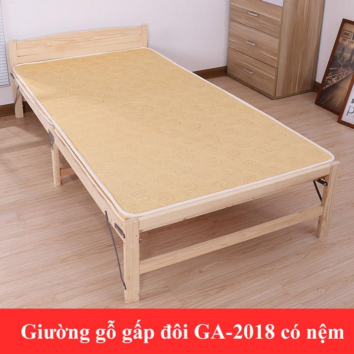 giường gỗ gấp đôi có nệm