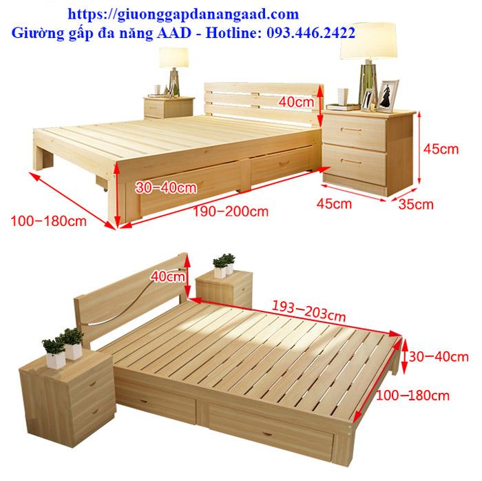 kích thước giường gỗ có ngăn kéo