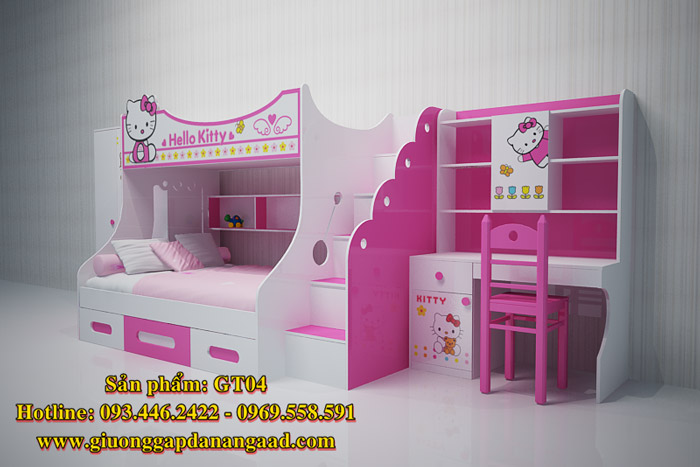 Giường tầng trẻ em Hello Kitty GT04 tuyệt đẹp