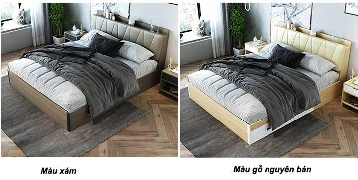 giường ngăn kéo màu xám và màu gỗ