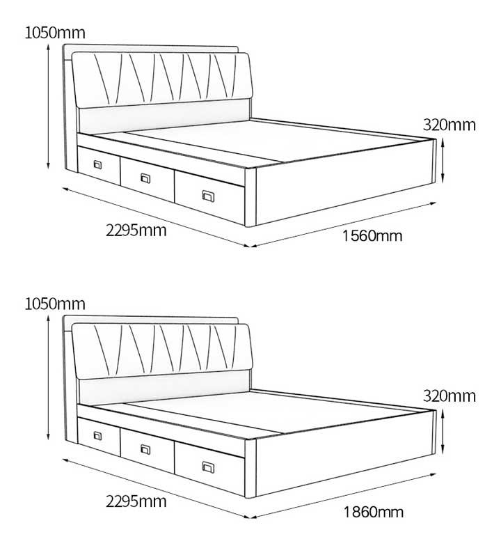 kích thước giường ngăn kéo