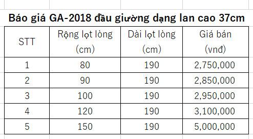 báo giá giường ngủ gấp tiết kiệm diện tích GA-2018 cao 37cm