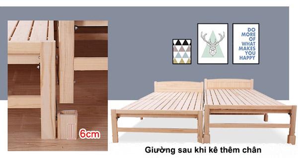 giường sau khi kê thêm chân gỗ nối giường