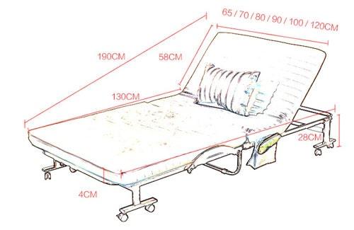kích thước giường có đệm nâng đầu giường