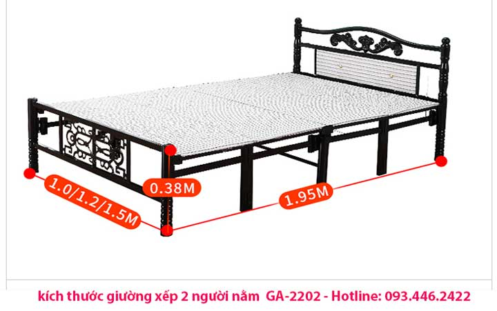 kích thước giường xếp 2 người nằm
