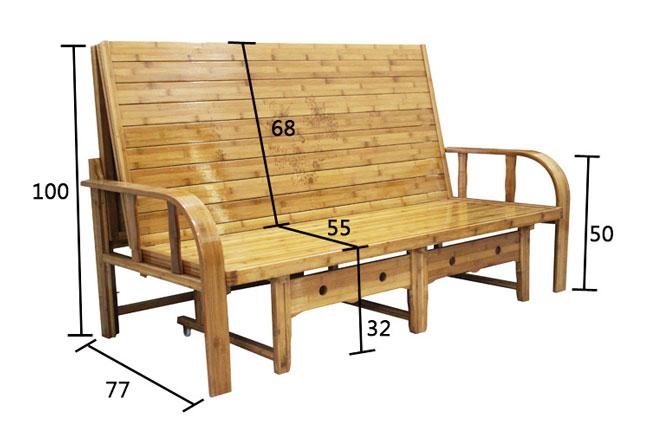 Kích thước ghế gỗ gấp thành giường