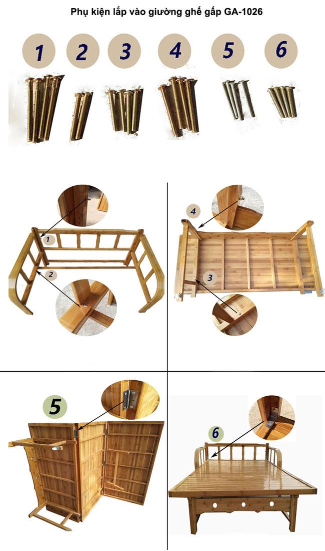 Phụ kiệngiường gấp thành ghế bằng gỗ