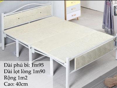 giường sắt gấp 1m2 màu trắng