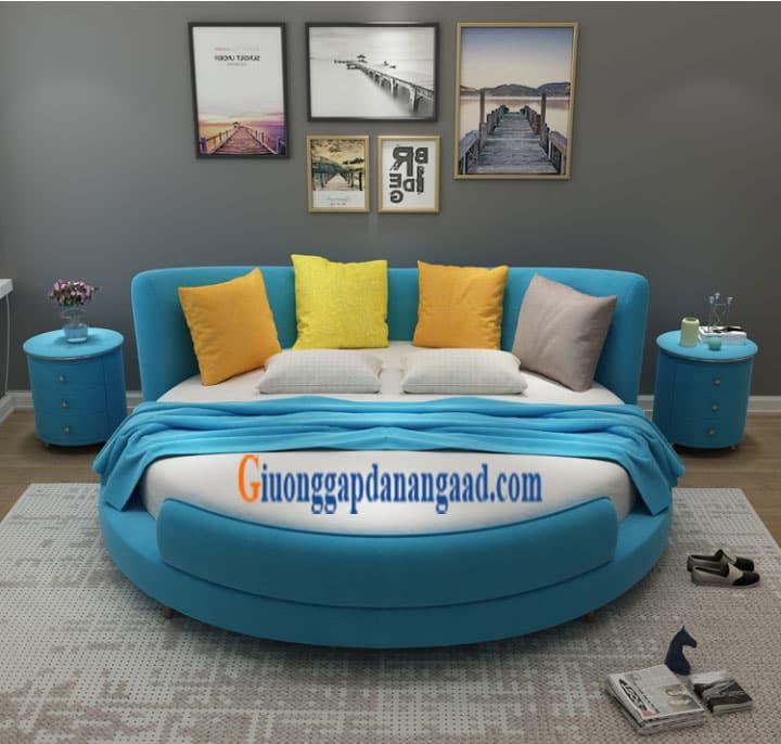 Giường tròn màu xanh