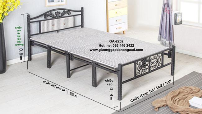 kích thước giường sắt gấp