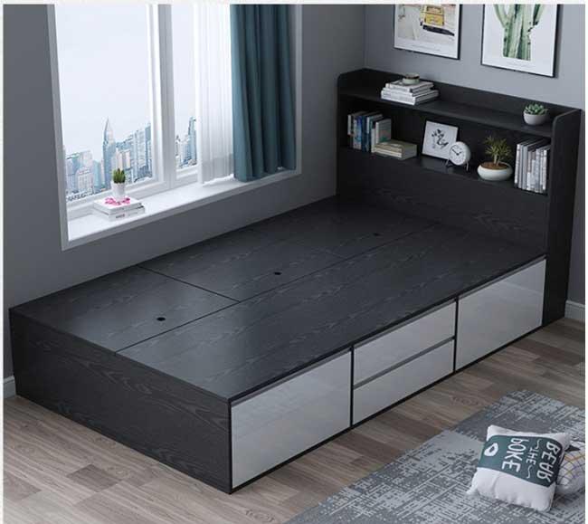 Giường ngủ đơn 1m2 màu ghi xám