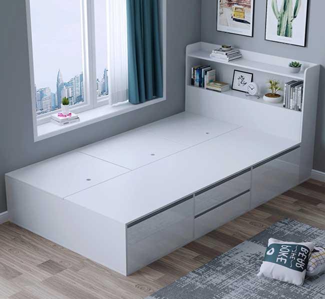 Giường ngủ có ngăn kéo màu trắng 1m2