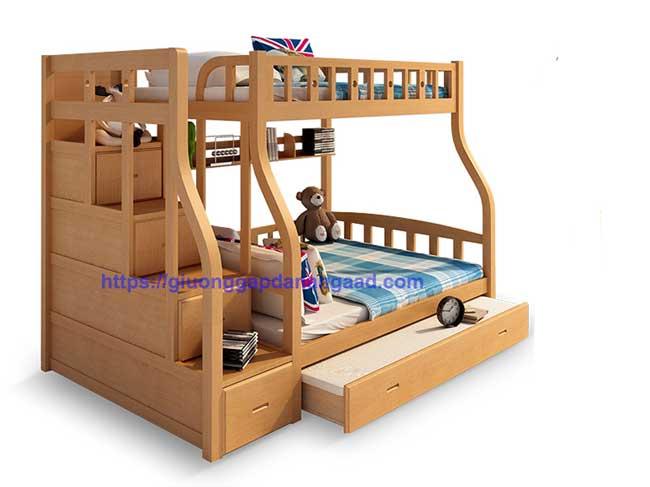 giường 3 tầng cho người lớn màu vân gỗ tự nhiên