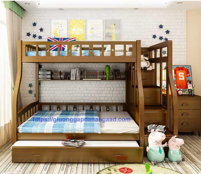 Giường 3 tầng dành cho người lớn màu óc chó