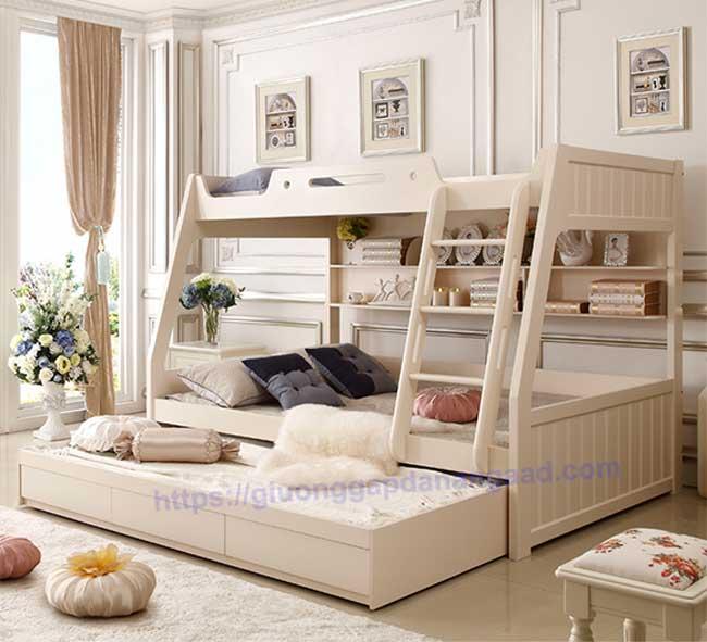 giường 3 tầng màu trắng