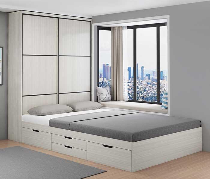 Giường ngủ gỗ công nghiệp sơn trắng