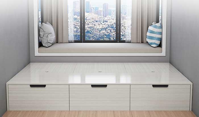 giường gỗ công nghiệp sơn trắng