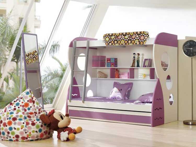 Giường tầng màu trắng và tím cho phòng ngủ của con gái