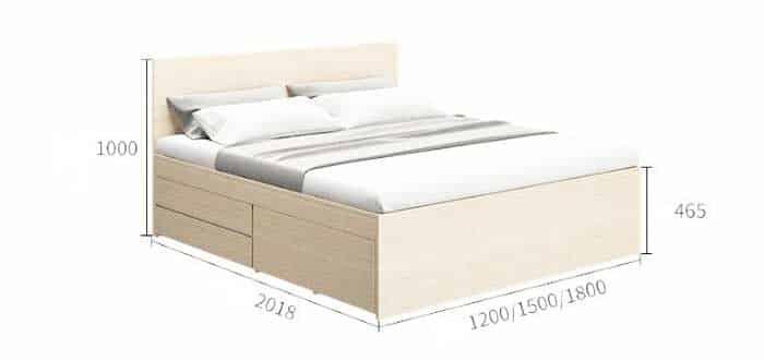 kích thước giường gỗ công nghiệp