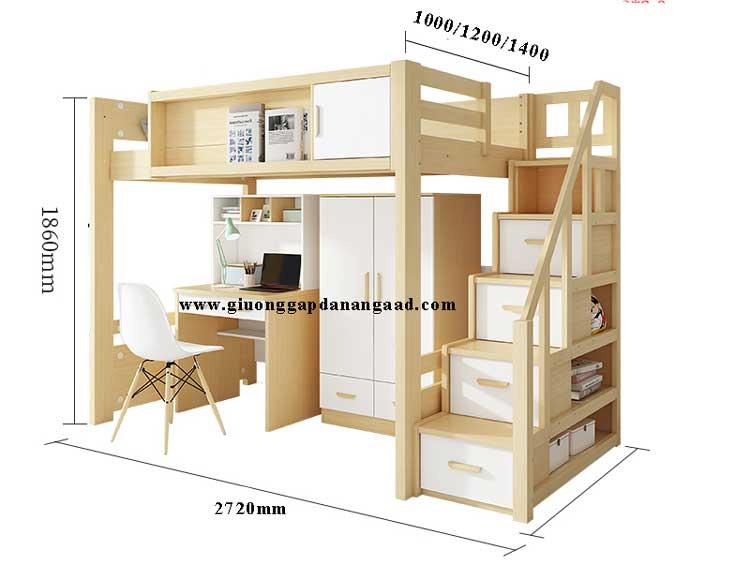 bản vẽ kích thước giường tầng kết hợp bàn học