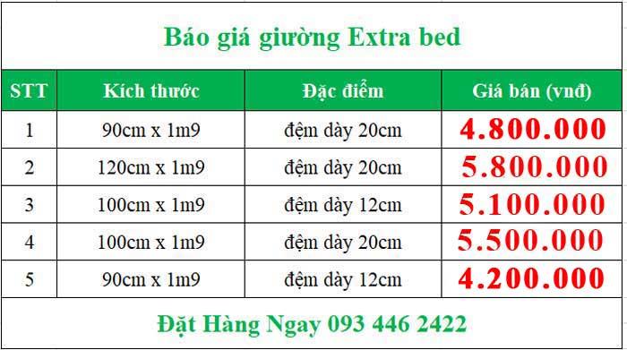 báo giá giường extra bed
