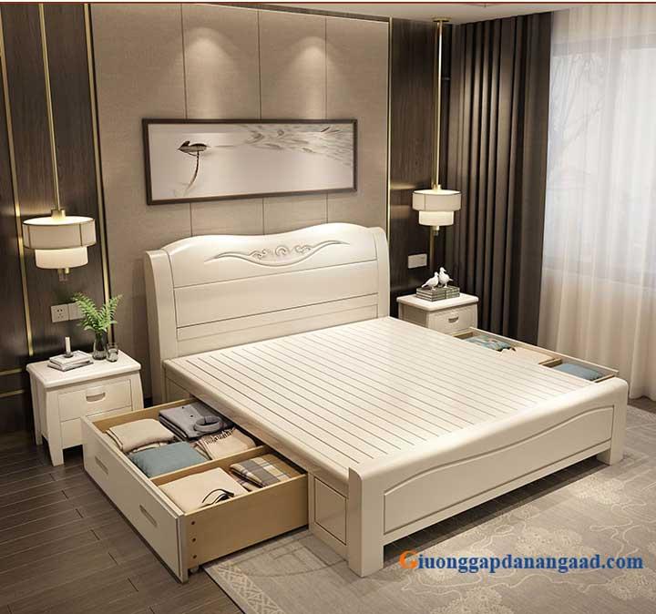 giường gỗ màu trắng cao cấp