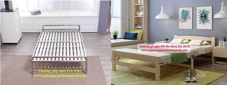 giường kim loại và giường gỗ