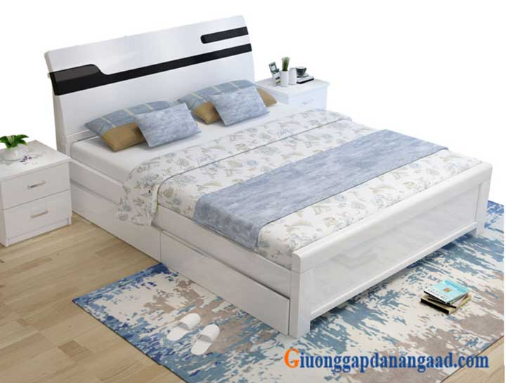 giường ngủ màu trắng có ngăn kéo